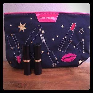 New Estee Lauder bundle 2 lipsticks makeup pouch